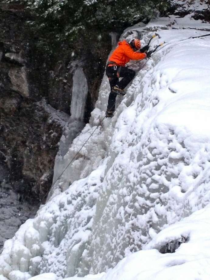 A visit to Plotter Kill Preserve in Rotterdam allowed Sonja Stark to get this shot of an ice climber on one of the three cascading falls in the park. Read more about Plotter Kill Preserve. Photo: Sonja Stark