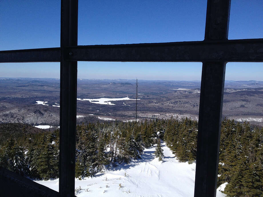 A view from inside the Fire Tower on Blue Mountain.  Read about the hike Photo: Sonja Stark