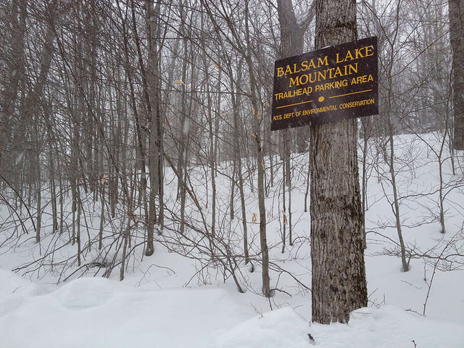 Sonja Stark regretted not wearing snowshoes on this hike through several feet of snow up Balsam Lake Mountain. Read more about the hike. Photo: Sonja Stark