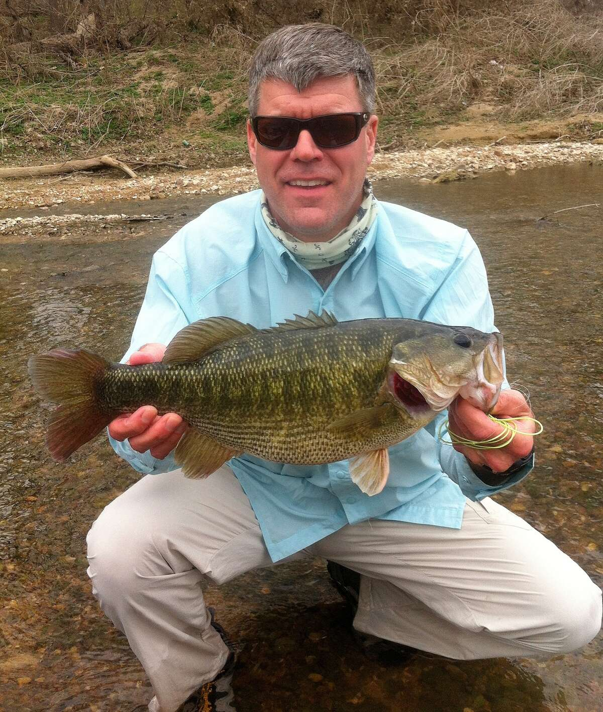 Dr. Bryan Townsend of Austin with pending world/state record Guadalupe bass, a 3.71-pounder Townsend caught Feb. 1 from the lower Colorado River. Photo courtesy of Dr. Bryan Townsend/ All Waters Guides