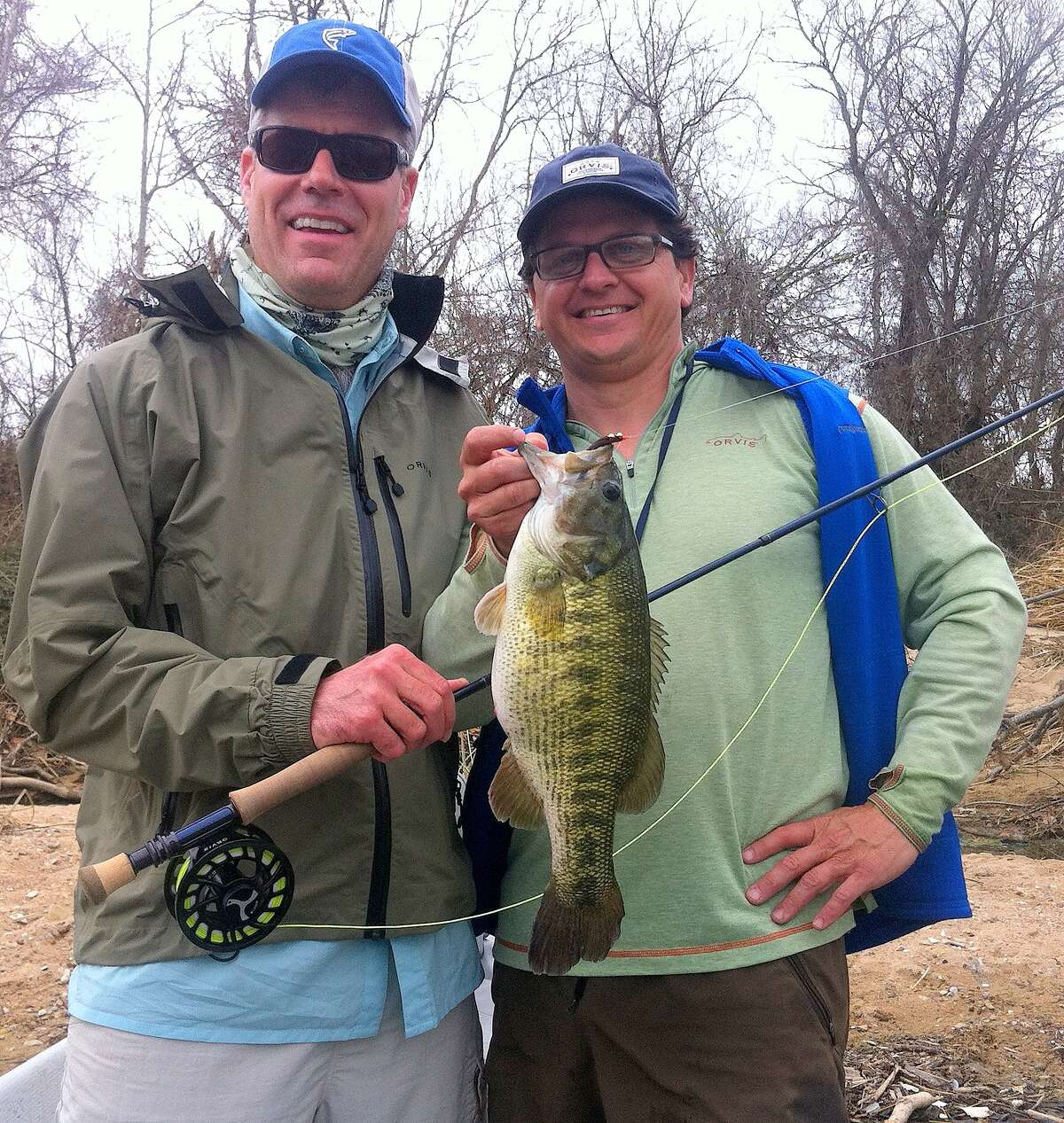 Dr. Bryan Townsend of Austin, left, and guide Shea McClanahan (right) with pending world/state record Guadalupe bass, a 3.71-pounder Townsend caught Feb. 1 from the lower Colorado River. Photo courtesy of Dr. Bryan Townsend/ All Waters Guides