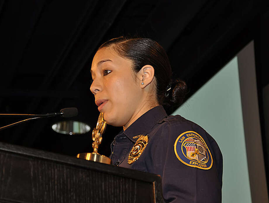 Gladys Molina, 17, a student at Lanier, speaks at the 2014 Friends of Scouting Bexar County Breakfast. Photo: Courtesy / BSA Alamo Area Council