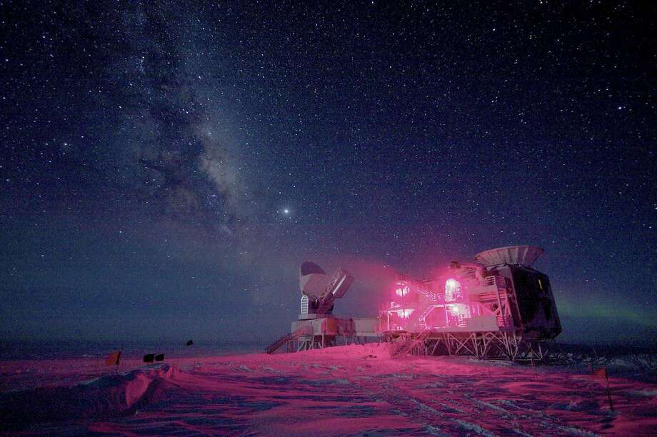 The 10-meter South Pole Telescope and the BICEP (Background Imaging of Cosmic Extragalactic Polarization) Telescope at Amundsen-Scott South Pole Station is seen against the night sky with the Milky Way in this National Science Foundation picture taken in August, 2008. Astronomers announced on Monday that they had discovered what many consider the holy grail of their field: ripples in the fabric of space-time that are echoes of the massive expansion of the universe that took place just after the Big Bang.  The gravitational waves were detected by the BICEP telescope. REUTERS/Keith Vanderlinde/National Science Foundation/Handout  (ANTARCTICA - Tags: SCIENCE TECHNOLOGY TPX IMAGES OF THE DAY ENVIRONMENT)  ATTENTION EDITORS - IMAGE HAS BEEN SUPPLIED BY A THIRD PARTY. IT IS DISTRIBUTED, EXACTLY AS RECEIVED BY REUTERS, AS A SERVICE TO CLIENTS. FOR EDITORIAL USE ONLY. NOT FOR SALE FOR MARKETING OR ADVERTISING CAMPAIGNS Photo: Handout, Reuters
