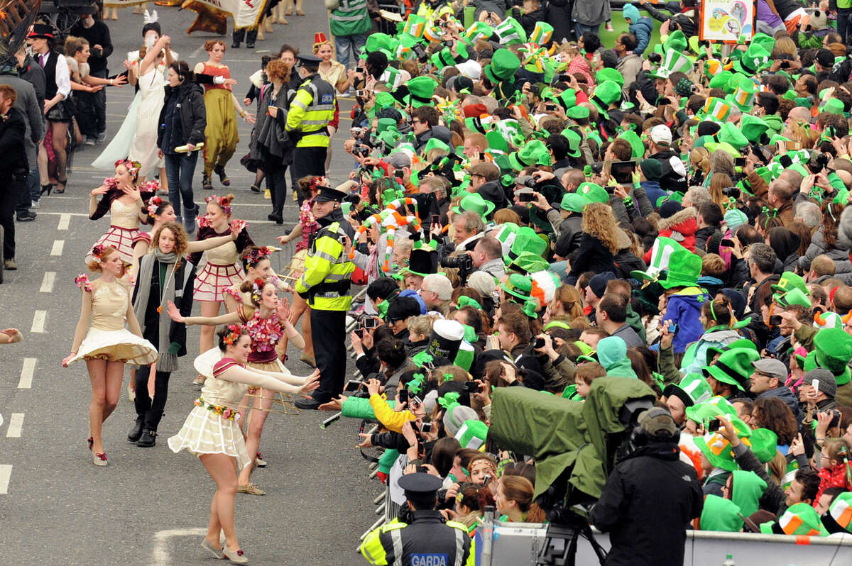 Participants take part in the St Patrick's Day parade on Monday in Dublin, Ireland.
