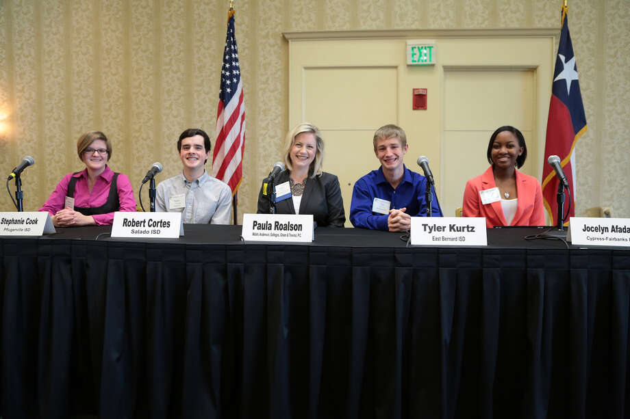 Students take part in a panel discussion at the recent TASB Winter Governance and Legal Seminar. From left, Stephanie Cook, Robert Cortes, panel facilitator Paula Roalson, Tyler Kurtz and Jocelyn Afadapa. Photo: Provided By Cy-Ranch High School