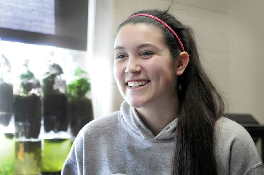 Janine Kerr, 16, a junior at Danbury High School, won big at the Connecticut Science Fair and earned a place at the Intel, International Science & Engineering Fair. She is photographed at the school Monday, March 17, 2014. Photo: Carol Kaliff / The News-Times