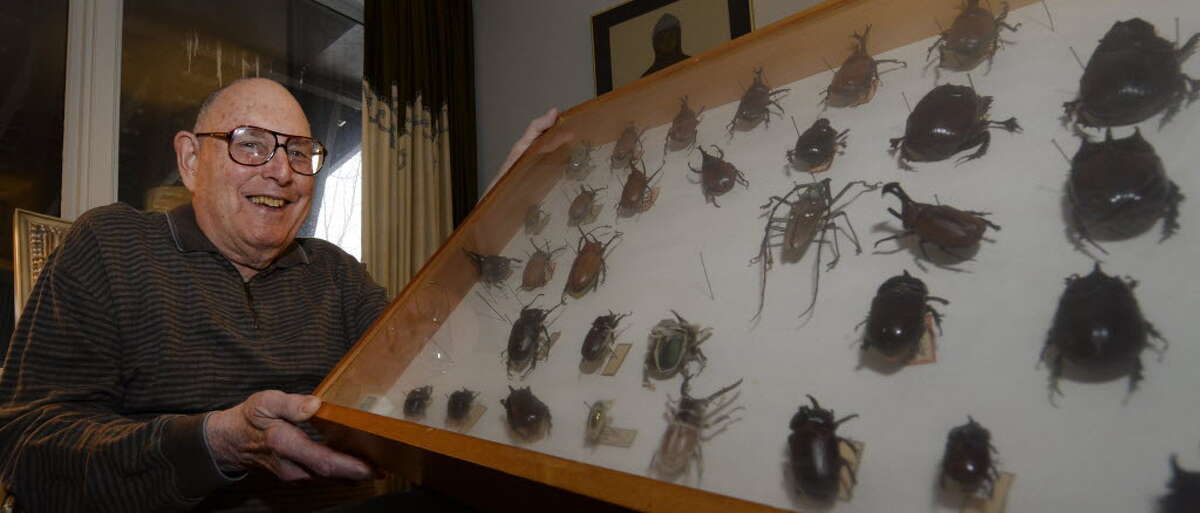 Kenneth Deitcher poses in his Albany home with part of his large insect collection. (Skip Dickstein/Times Union)