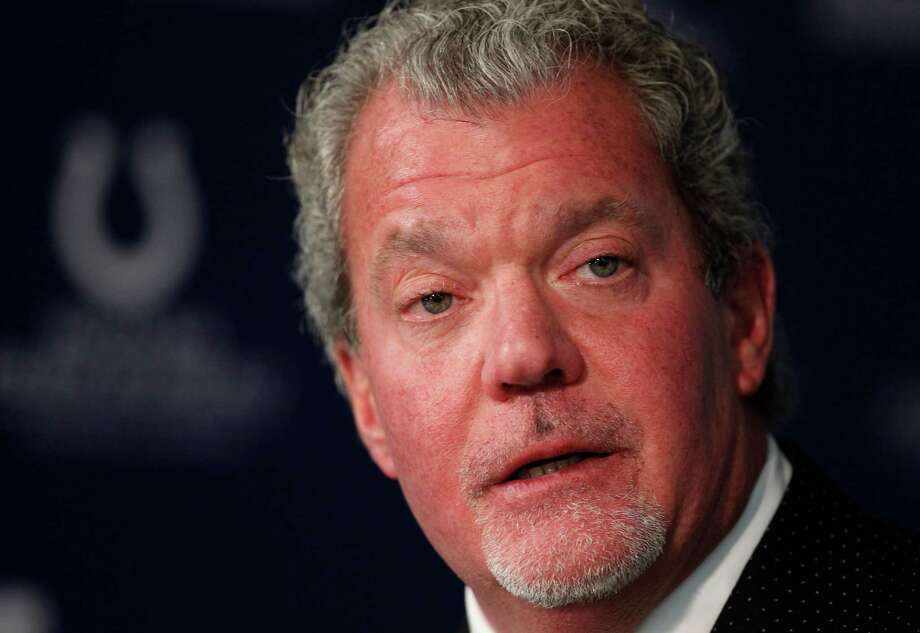 FILE - This is a Jan. 2, 2012 file photo showing Indianapolis Colts owner Jim Irsay during a press conference at the NFL football team's practice facility in Indianapolis. Authorities say Irsay is in jail after being stopped on suspicion of drunken driving. Hamilton County Sheriff's Department Deputy Bryant Orem says Irsay was arrested Sunday night, March 16, 2014, in the northern Indianapolis suburb of Carmel. (AP Photo/Michael Conroy, File) ORG XMIT: NY151 Photo: Michael Conroy / AP