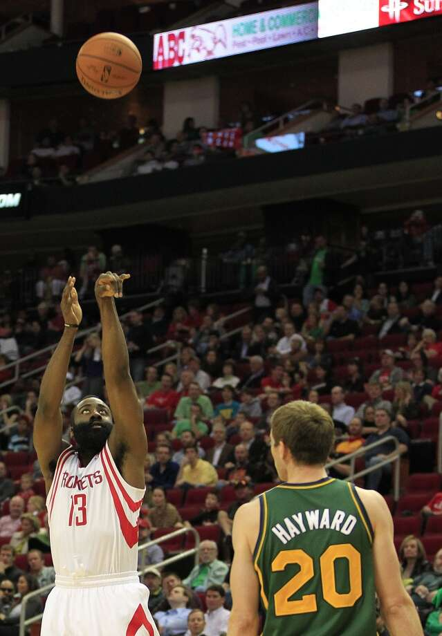 Rockets guard James Harden puts up a three-pointer. Photo: Johnny Hanson, Houston Chronicle