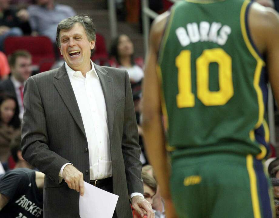 Everybody except the Jazz was laughing after the Rockets' 38-point win - even coach Kevin McHale. Photo: Johnny Hanson, Staff / © 2014  Houston Chronicle