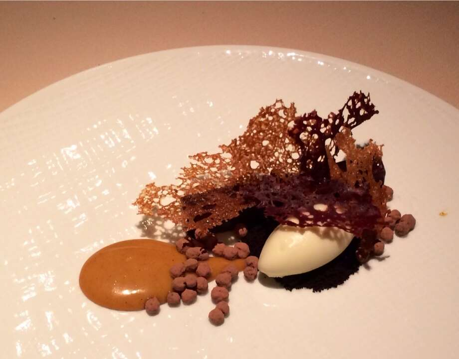 Manresa in Los Gatos: Chocolate bar with fromage blanc and brioche (part of fixed price menu)