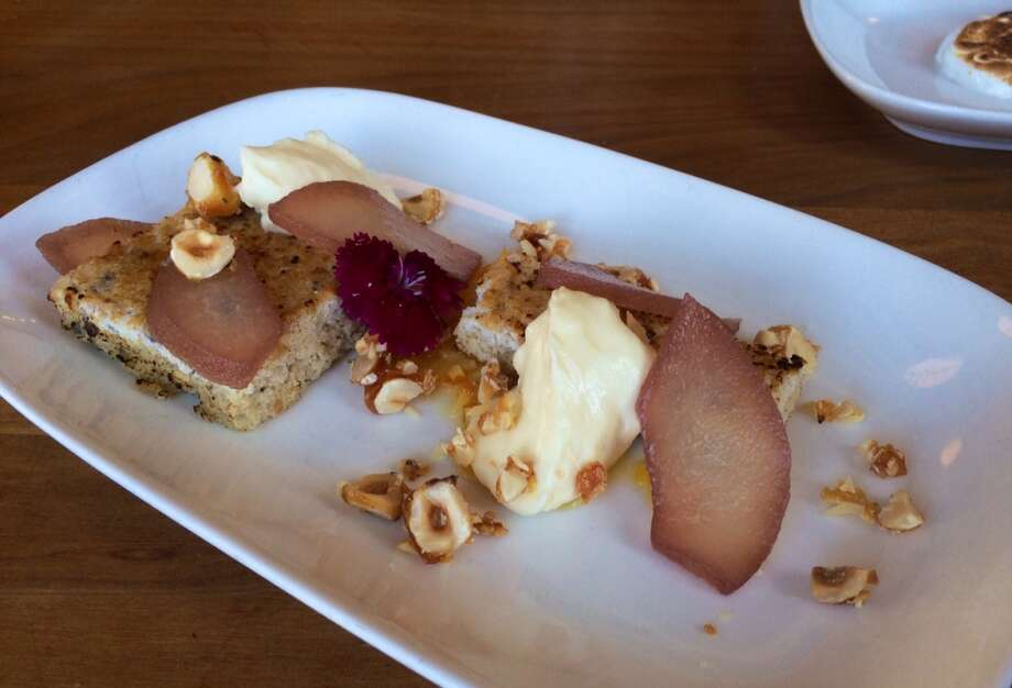 Piccino: Hazelnut-cocoa nib cake with poached Asian pear and mascarpone mousse ($9)