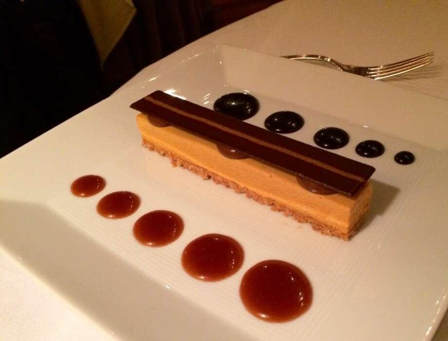 Acquerello: Bourbon caramel semifreddo with Amaretti crust and chocolate and caramel sauce (part of fixed price menu)