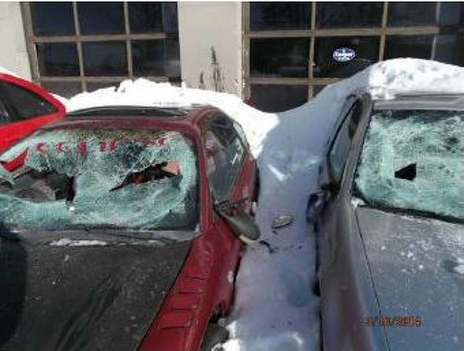 Whitehall police are seeking information on damage done to a number of vehicles Sunday, March 16, at the Smith Street Auto Lot on Poultney Street. (Whitehall Police Department) Photo: Picasa