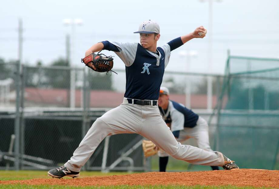 Kingwood senior pitcher Tim Darcy worked the mound during a recent game against Dekaney. Photo: Jerry Baker, Freelance