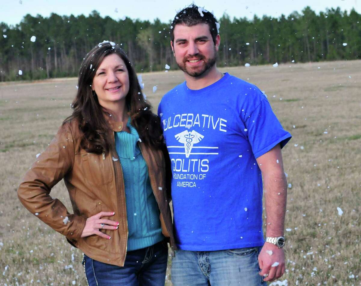 Brad Bennett, 27, is co-hosting the first Snow Run & Walk 5K in Lumberton to help raise awareness for Ulcerative Colitis. He stands out at the Lumberton City Park will the event will be hosted with his mother, Rhonda Bennett, 49. Brad Bennett learned he had the chronic gastrointestinal disorder as a teenager and had to have his colon removed when he was 20 years old. Photo by Cassie Smith/@smithcassie. March 13, 2014.