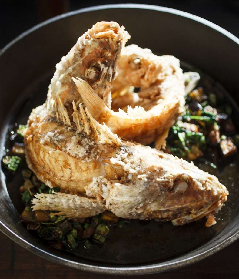 Crispy Whole Gulf By-Catch, Okra, Eggplant, and Caramelized Fish Sauce at Chris Shepherd's restaurant Underbelly. Photo: Michael Paulsen, Houston Chronicle