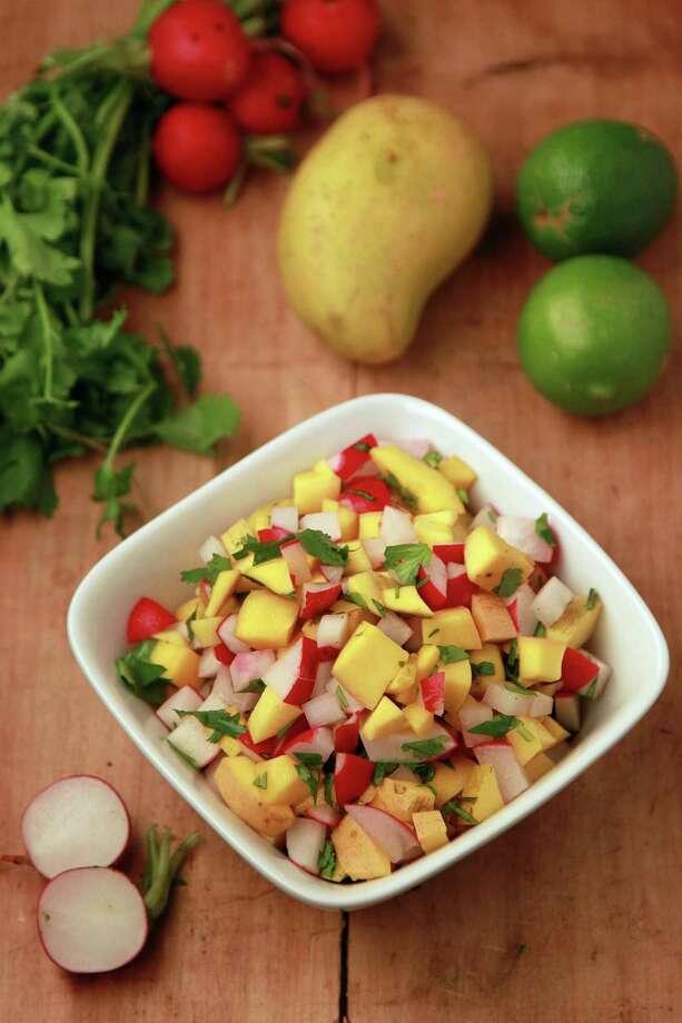 Mango Salsa featured in Kitchen to Kitchen food column on March 6, 2014, in Houston. ( Mayra Beltran / Houston Chronicle ) Photo: Mayra Beltran, Staff / © 2014 Houston Chronicle