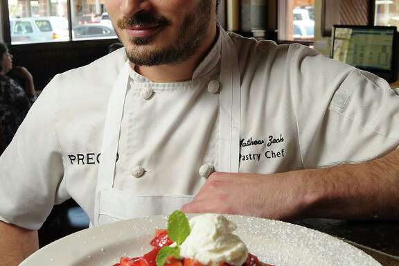 Chef Matt Zoch with the strawbeerry shortcake at Prego restaurant in Rice Village Wednesday  March 12, 2014.(Dave Rossman photo)