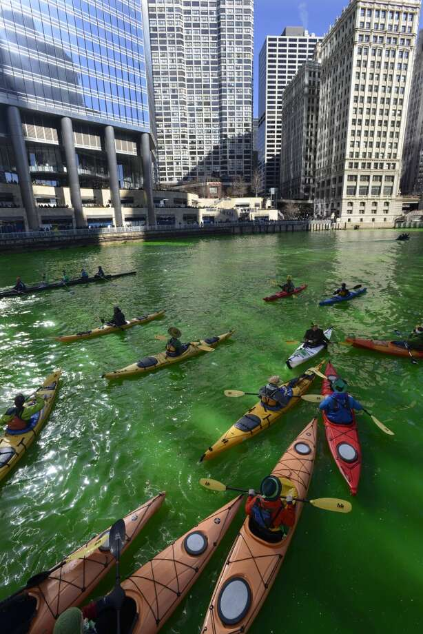 Kayakers float on the Chicago River after being dyed green ahead of the St. Patrick's Day parade in Chicago, Saturday, March 15, 2014. (AP Photo/ Paul Beaty) Photo: Associated Press