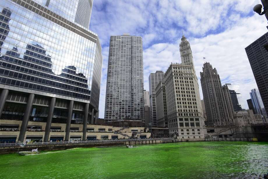Dye colors the Chicago River green ahead of the St. Patrick's Day parade in Chicago on Saturday, March 15, 2014. The annual dying has been done since 1962. (AP Photo/Paul Beaty) Photo: Associated Press