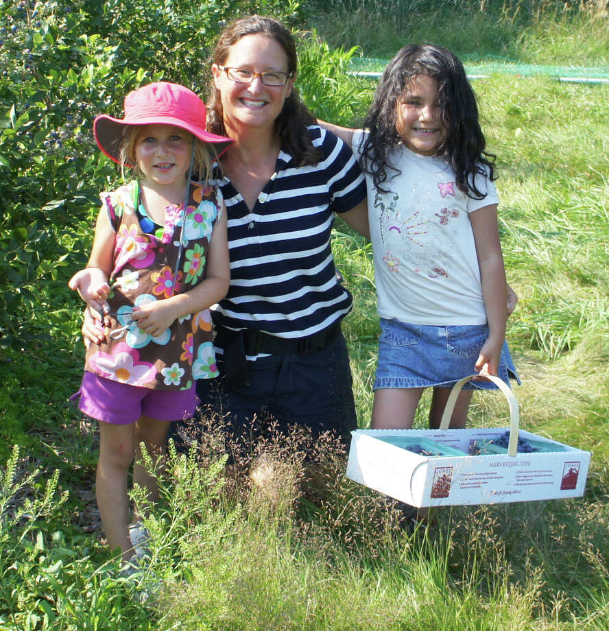 Fresh Air Fund visitor Vanessa Mota-Romero of Harlem, N.Y. enjoys blueberry picking with her Westport host family. From left: Molly Dubson, host mom Bonnie Dubson, and Vanessa Mota-Romero. Vanessa, now 8, will be returning this summer for her third visit. Photo: Contributed Photo / Westport News