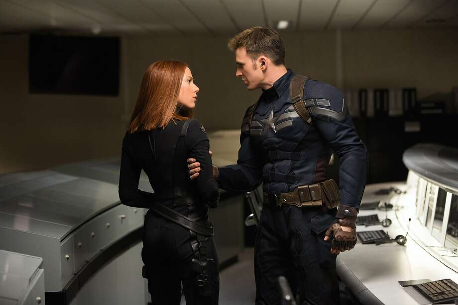"Scarlett Johansson plays Black Widow and Chris Evans has the title role in the fantasy adventure ""Captain America: The Winter Soldier."" Photo: Walt Disney Films"