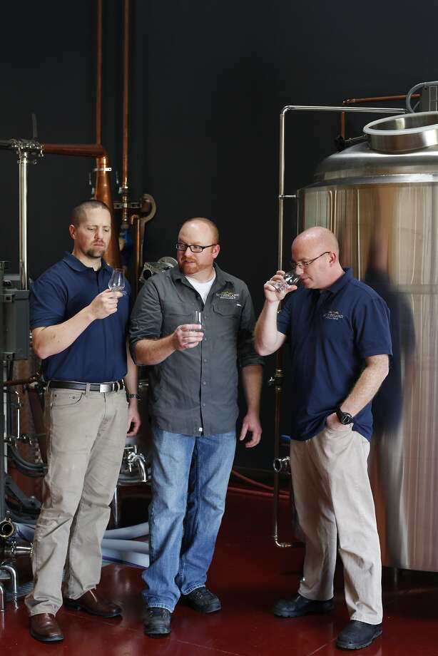 Eric Larimer (left), Ryan Sutherland and Barry Sutherland had to overcome many obstacles to launch their Livermore distillery. Photo: Pete Kiehart, The Chronicle