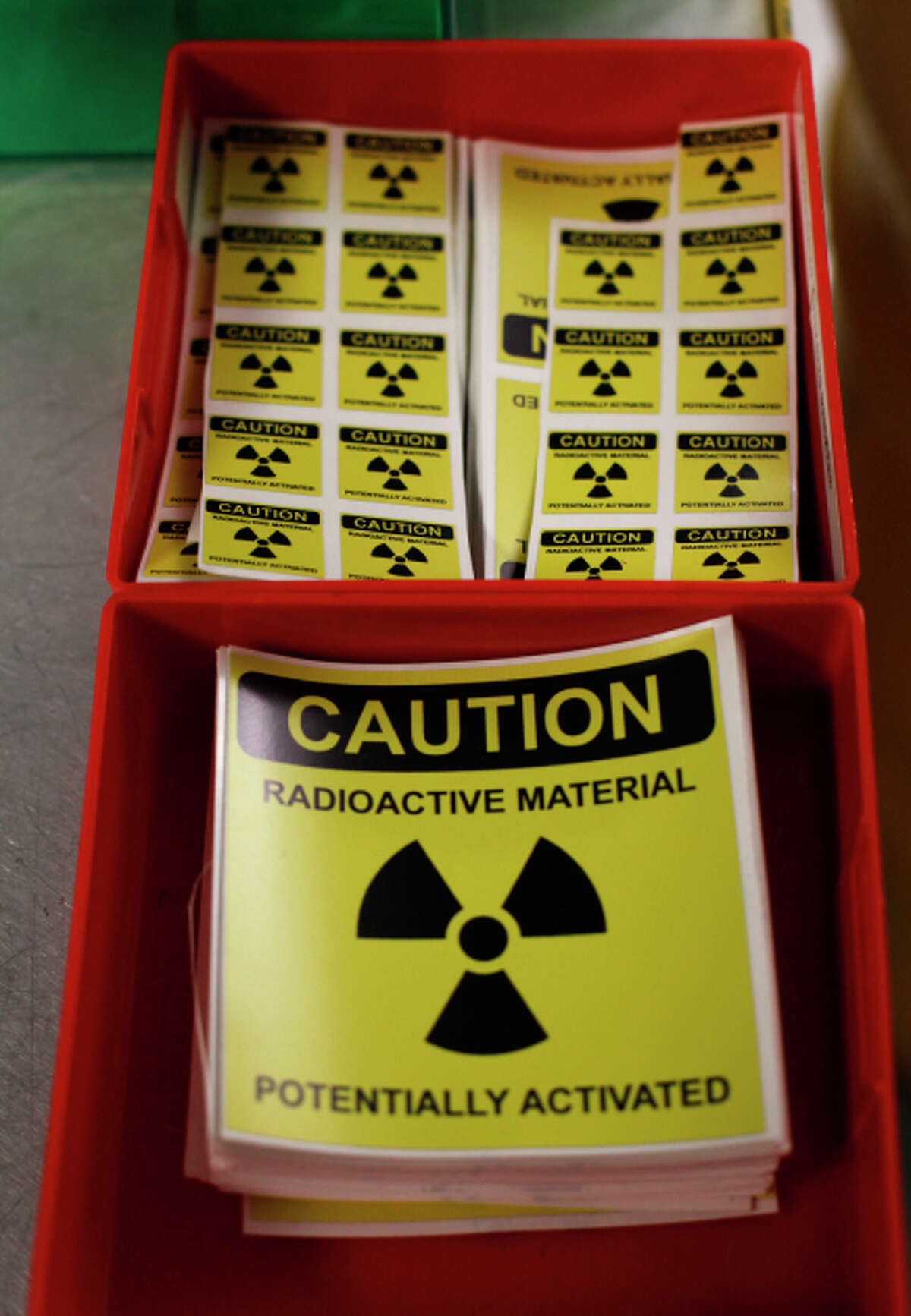 Stickers for marking objects that have been contaminated by radiation are seen at the National Ignition Facility at Lawrence Livermore National Laboratory on March 14, 2014 in Livermore, Calif.