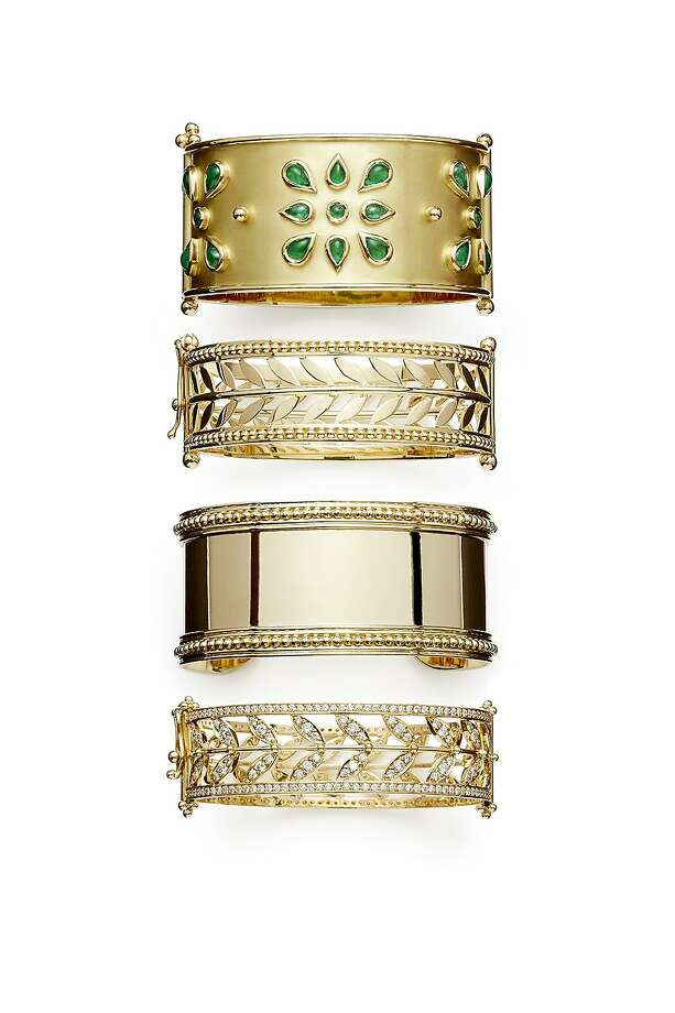 Temple St. Clair's jewelry design company (pictured are some of her cuff bracelets) features hand-selected stones, with pieces starting at $500 and hitting seven figures for bespoke designs. Photo: Gasper Tringale
