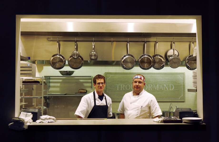 Executive Chef, Salvatore Cracco and Sous Chef Dan Mussulman, in the kitchen at Trou Normand, the new restaurant from the Bar Agricole folks, in San Francisco. Photo: Carlos Avila Gonzalez, The Chronicle