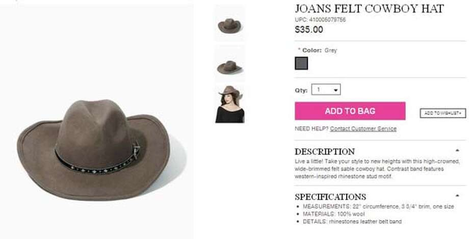 Joans felt cowboy hat from Charming Charlie, $35