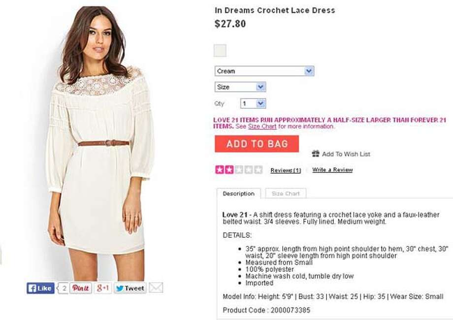 In Dreams crochet lace dress by Forever 21, $27.80