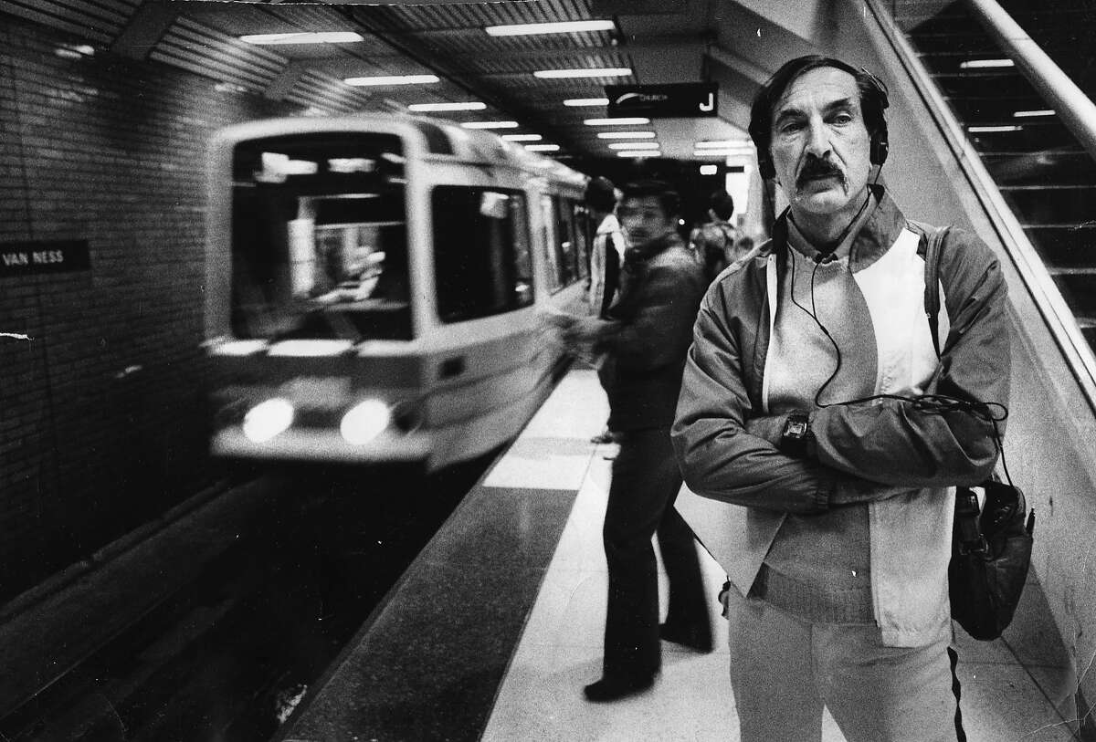 June 10, 1982: Gregiore Gallipeau waits for the Muni J Church, lost in the Beethoven playing on his Sony Walkman.