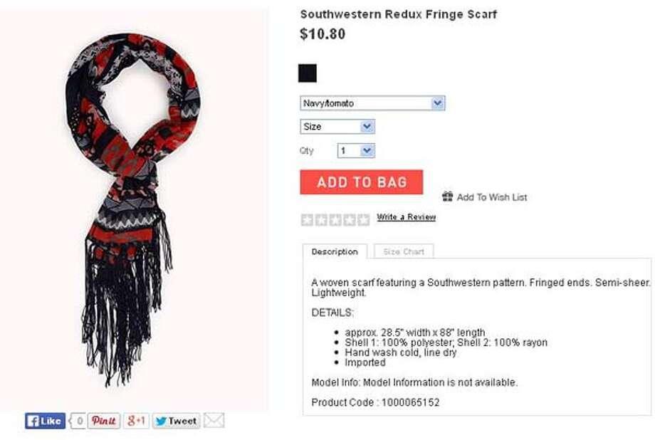 Southwestern Redux fringe scarf from Forever 21, $10.80