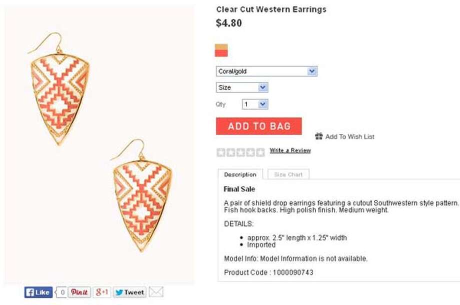 Clear Cut Western earrings by Forever 21, $4.80