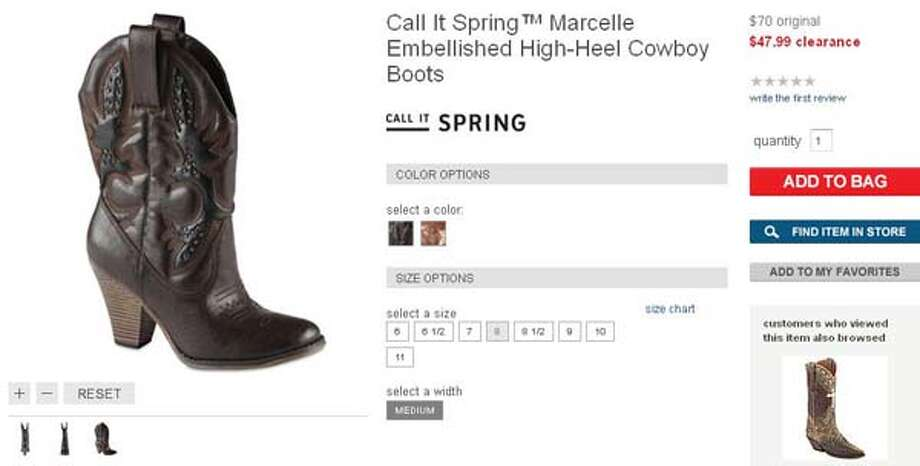Call It Spring high-heeled cowboy boots from JC Penney, available in brown and bronze, $47.99-70