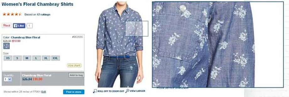 Women's floral Chambray shirt from Old Navy, $10-26.94