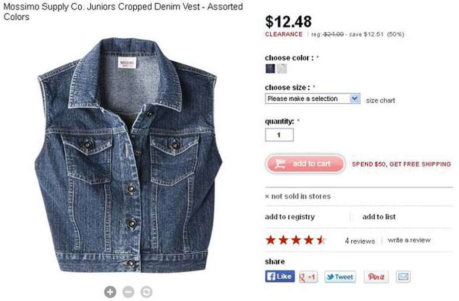 Mossimo Supply Co. juniors cropped denim vest from Target, assorted colors, $12.48-24.99