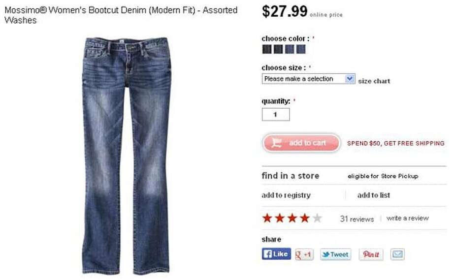 Mossimo women's bootcut denim jeans (modern fit) from Target, $27.99