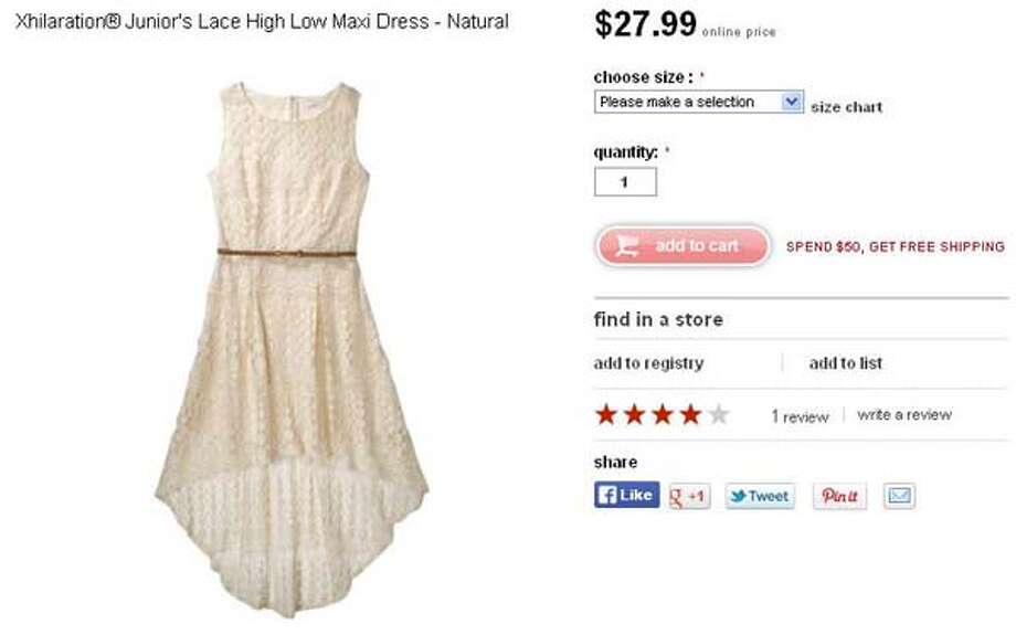 Xhilaration junior's lace high low maxi dress in natural from Target, $27.99