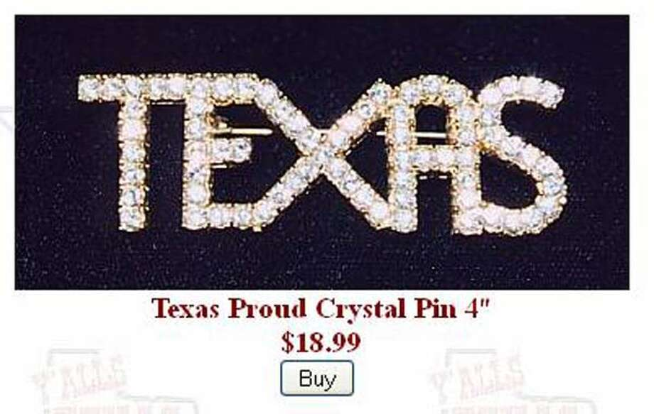Texas Proud crystal pin from Y'alls Texas Store, $18.99