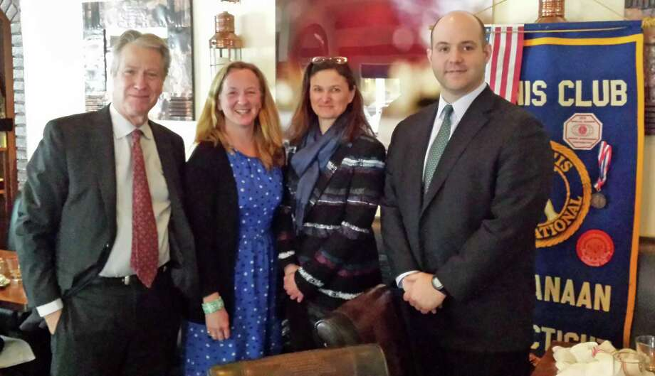 From left, Kiwanis Treasurer Jerry Miller, the Carriage Barn Arts Centerís Eleanor Flatow and Arianne Kolb, and Kiwanis Secretary David Hoyle, at a recent Kiwanis luncheon held at Picador on Elm Street. Photo: Contributed Photo, Contributed / New Canaan News Contributed