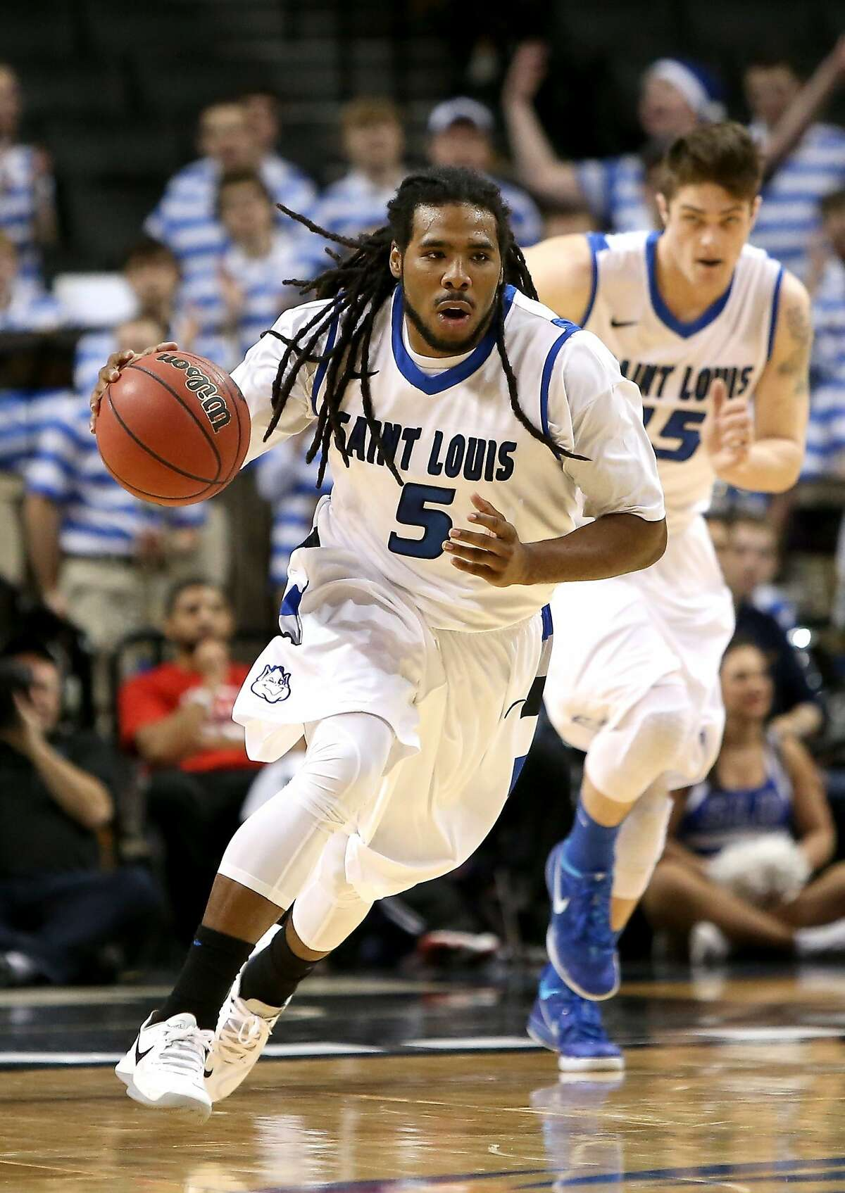 NEW YORK, NY - MARCH 14: Jordair Jett #5 of the Saint Louis Billikens handles the ball in the first half against the St. Bonaventure Bonnies during the Quarterfinals of the 2014 Atlantic 10 Men's Basketball Tournament at Barclays Center on March 14, 2014 in the Brooklyn Borough of New York City. (Photo by Mike Lawrie/Getty Images)