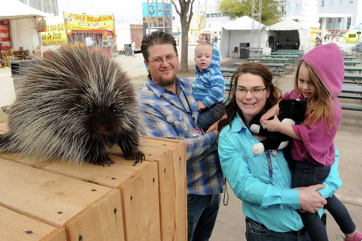 Alexsey and Byron Dubberstine and their children Aleina and Abram look at a porcupine during the Amazing Animals show on the Stars Over Texas Stage at the Houston Livestock Show & Rodeo Monday March 17, 2014.