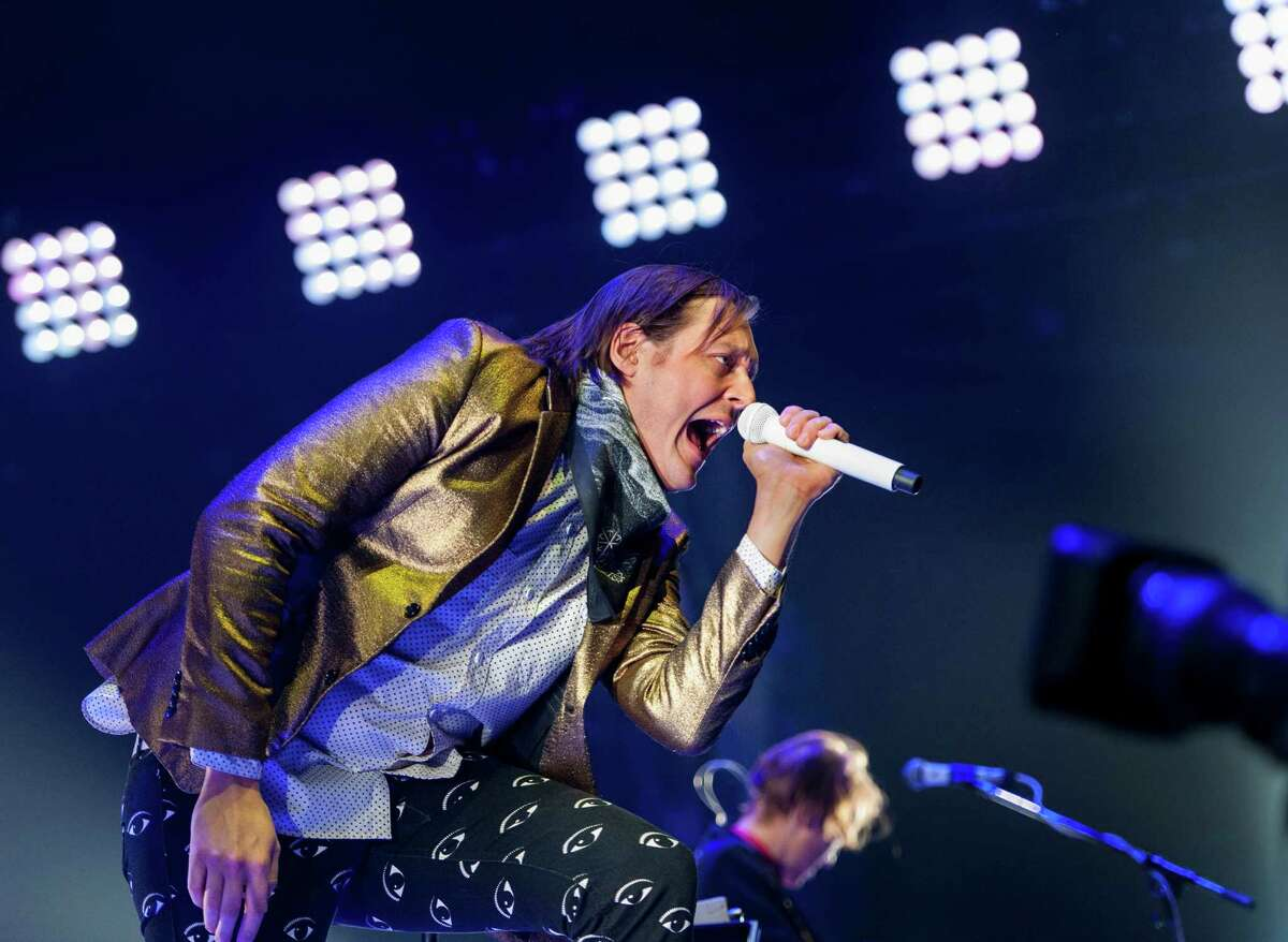 Win Butler and the band Arcade Fire performs at the Webster Bank Arena, Bridgeport CT on Tuesday, March, 18th, 2014.