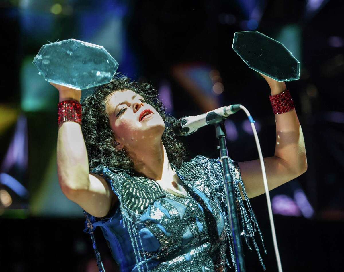 Régine Chassagne of Arcade Fire performs at the Webster Bank Arena, Bridgeport CT on Tuesday, March, 18th, 2014.