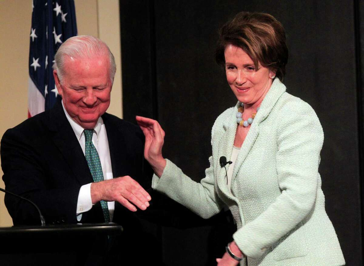 Former Secretary of State James A. Baker greets Nancy Pelosi, the Democratic leader in the House of Representatives.