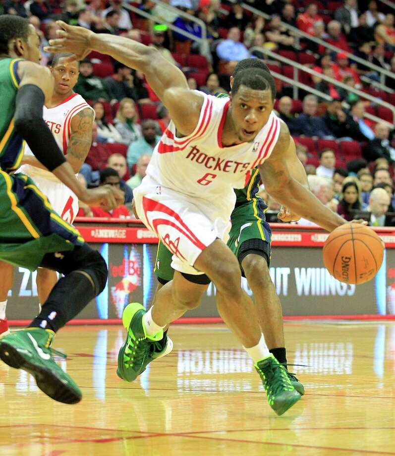 Terrence Jones (6) was a driving force in the Rockets' latest win, scoring 30 points against the Jazz on Monday night. Photo: Johnny Hanson, Staff / © 2014  Houston Chronicle