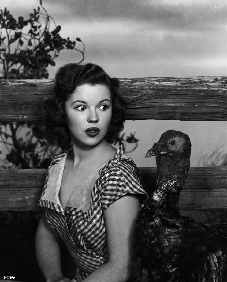 Teenage actress Shirley Temple (1928-2014) poses as a country girl in a gingham frock, but is unprepared for the arrival of a curious turkey, 1949. Photo: John Kobal Foundation, Getty Images